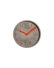 Zegar CONCRETE TIME ORANGE 8500027 Zuiver betonowy zegar wiszący z pomarańczowymi wskazówkami