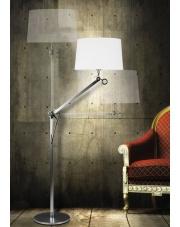 Lampa podłogowa Terra F0006 oprawa stojąca nowoczesna aluminium/chrom/biały abażur Maxlight