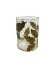 Szklany świecznik z liśćmi AKA3326 HK Living designerski świecznik na tealighty