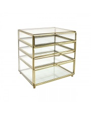 Mała komoda na biurko ze szkła i mosiądzu AOA9954 HK Living  szklano-mosiężna komódka na biurko