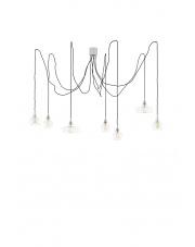 Lampa wisząca żyrandol Longis Spider 10681702 oprawa wisząca klasyczna przezroczysta / przewody czarne Kaspa