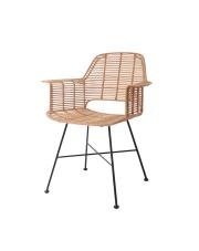 Krzesło TUB CHAIR NATURAL RAT0040 HK Living naturalne ratanowe krzesło z podparciem na ręce i czarnym stelażem