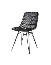 Krzesło DINING CHAIR BLACK RAT0011 HK Living czarne ratanowe krzesło na metalowej ramie
