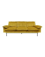 Sofa OCHRE 4-SEATS MZM4633 HK Living duża brunatno-żółta 4-osobowa sofa w stylu retro