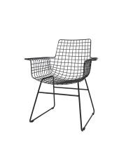 Krzesło WIRE ARM CHAIR BLACK FUR0020 HK Living czarne metalowe krzesło z podłokietnikami