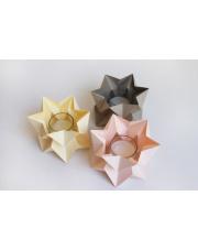 Tealights Pale Yellow | Pastel Pink | Light Taupe Orikomi zestaw trzech dekoracyjnych papierowych świeczników