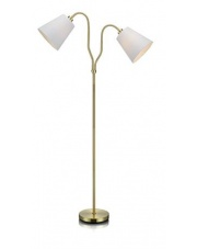 Lampa podłogowa MODENA 105274 Markslojd podwójna mosiężna lampa z białymi kloszami