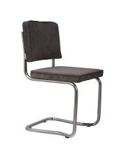 Krzesło RIDGE KINK RIB GREY 6A 1100059 Zuiver wygięta chromowa rama szara sztruksowa tapicerka