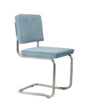 Krzesło RIDGE KINK RIB BLUE 12A 1100061 Zuiver wygięta chromowa rama niebieska sztruksowa tapicerka
