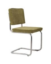 Krzesło RIDGE KINK RIB GREEN 25A 1100063 Zuiver wygięta chromowa rama zielona sztruksowa tapicerka