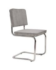 Krzesło RIDGE KINK RIB COOL GREY 32A 1100077 Zuiver wygięta chromowa rama jasnoszara sztruksowa tapicerka