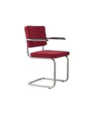 Fotel RIDGE RIB RED 21A 1006051 Zuiver chromowa rama czerwona sztruksowa tapicerka