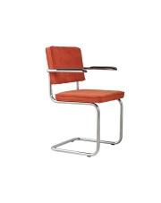 Fotel RIDGE RIB ORANGE 19A 1006052 Zuiver chromowa rama pomarańczowa sztruksowa tapicerka