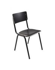 Krzesło BACK TO SCHOOL HPL BLACK 1008201 Zuiver czarne krzesło na stalowej ramie