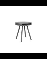 Stół SIDE TABLE OAK TRAY 2300003 Zuiver okrągły stolik dębowa okleina stalowe czarne nogi