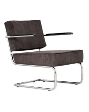 Krzesło RIDGE LOUNGE RIB ARM GREY 6A 3100015 Zuiver głębokie szare krzesło na chromowej ramie z podłokietnikami