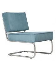Krzesło RIDGE LOUNGE RIB BLUE 12A 3100011 Zuiver głębokie niebieskie krzesło na chromowej ramie bez podłokietników