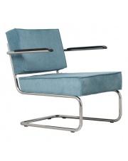 Krzesło RIDGE LOUNGE RIB ARM BLUE 12A 3100017 Zuiver głębokie niebieskie krzesło na chromowej ramie z podłokietnikami