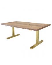 Drewniany stół z mosiężnymi nogami MTA2813 HK Living rustykalny designerski stół drewniany