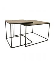 Zestaw stolików kawowych MTA2812 HK Living metalowe stoliki z mosiężnymi blatami
