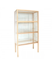 Gablota duża szklana drewniana FUR0002 HK Living designerska jesionowa przeszklona witryna