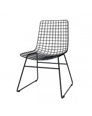 Krzesło metalowe czarne FUR0023 HK Living minimalistyczne rustykalne krzesło metalowe