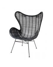 Fotel rattanowy bohemian czarny RAT0008 HK Living ręcznie pleciony rustykalny fotel z rattanu