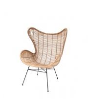 Fotel rattanowy bohemian naturalny RAT0034 HK Living ręcznie pleciony rustykalny fotel z rattanu