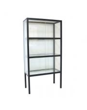 Gablota duża szklana czarna FUR0012 HK Living designerska stalowa przeszklona witryna