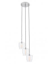 OUTLET Lampa wisząca Clea 3 10561309 oprawa wisząca nowoczesna chromowa / czarne przewody Kaspa