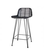 Stołek barowy BAR STOOL BLACK RAT0017 HK Living czarny ratanowy stołek barowy