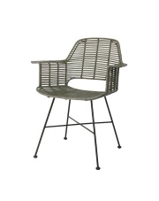 Krzesło TUB CHAIR OLIVE GREEN MZM4009 HK Living oliwkowe ratanowe krzesło z podparciem na ręce i czarnym stelażem