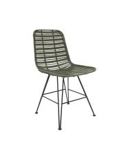 Krzesło DINING CHAIR OLIVE GREEN HOKAIDO MZM4629 HK Living oliwkowe ratanowe krzesło hokaido na metalowej ramie