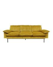Sofa OCHRE 3-SEATS MZM4634 HK Living duża brunatno-żółta 3-osobowa sofa w stylu retro