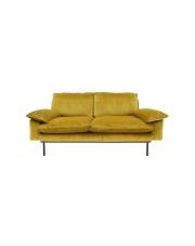 Sofa OCHRE 2-SEATS MZM4635 HK Living mała brunatno-żółta 2-osobowa sofa w stylu retro