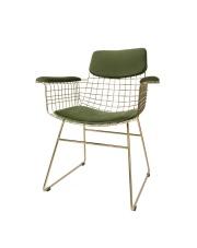 Zestaw poduszek COMFORTS KIT ARM CHAIR VELVET GREEN TOT4014 HK Living siedzisko, oparcie oraz podłokietniki w kolorze leśnym zielonym do krzesła WIRE ARM CHAIR