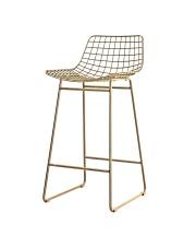 Stołek WIRE BAR STOOL BRASS MZM4619 HK Living metalowy stołek barowy w mosiężnym kolorze