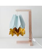 Lampa stołowa Mint Blue with Warm Gold Stripe Orikomi papierowa oprawa stołowa w stylu design
