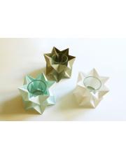 Tealights Polar White | Mint Blue | Light Taupe Orikomi zestaw trzech dekoracyjnych papierowych świeczników