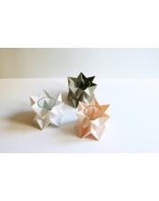 Tealights Polar White | Pastel Pink| Light Taupe Orikomi zestaw trzech dekoracyjnych papierowych świeczników
