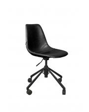 Krzesło biurowe czarne Franky 1300007 obrotowy fotel skórzany Dutchbone