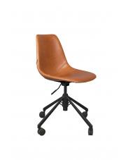Krzesło biurowe brązowe Franky 1300008 obrotowy fotel skórzany Dutchbone