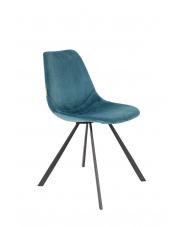 Krzesło do jadalni niebieskie Franky 1100370 designerskie krzesło vintage Dutchbone