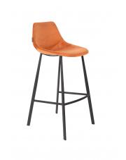 Stołek barowy wysoki pomarańczowy Franky 1500072 hoker vintage Dutchbone