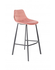 Stołek barowy wysoki różowy Franky 1500069 hoker vintage Dutchbone