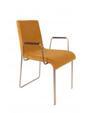 Krzesło w stylu glamour musztardowe Flor 1200130 eleganckie krzesło z oparciami Dutchbone