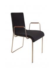Krzesło w stylu glamour czarne Flor 1200129 eleganckie krzesło z oparciami Dutchbone