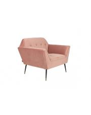 Fotel w stylu glamour pudrowy róż Kate 3100061 aksamitny fotel do salonu Dutchbone