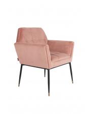 Fotel w stylu glamour pudrowy róż Kate 1200152 aksamitny fotel do salonu Dutchbone