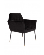 Fotel w stylu glamour czarny Kate 1200153 aksamitny fotel do salonu Dutchbone